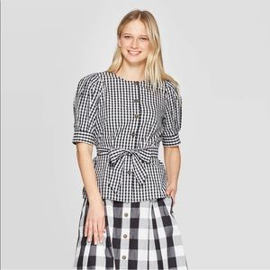 Women's who what wear checkered blouse